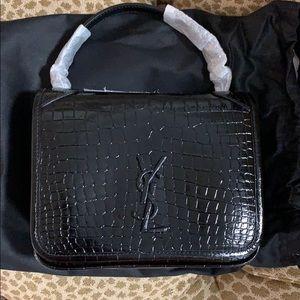 NWT Saint Laurent mini Nikki croc embossed bag